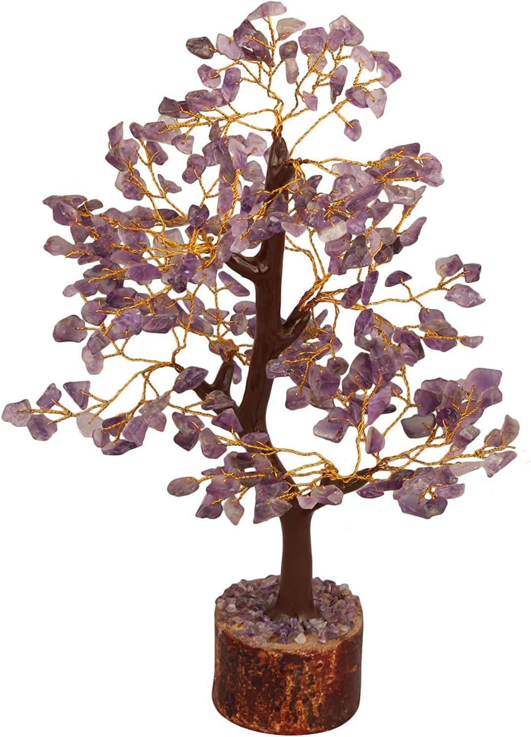 Crocon Amethyst Gemstone Money Tree Feng Shui Bonsai for Reiki Healing Chakra Stone Balancing Energy Generator Spiritual Meditation Home Interior Office Decor Size 10-12 Inch