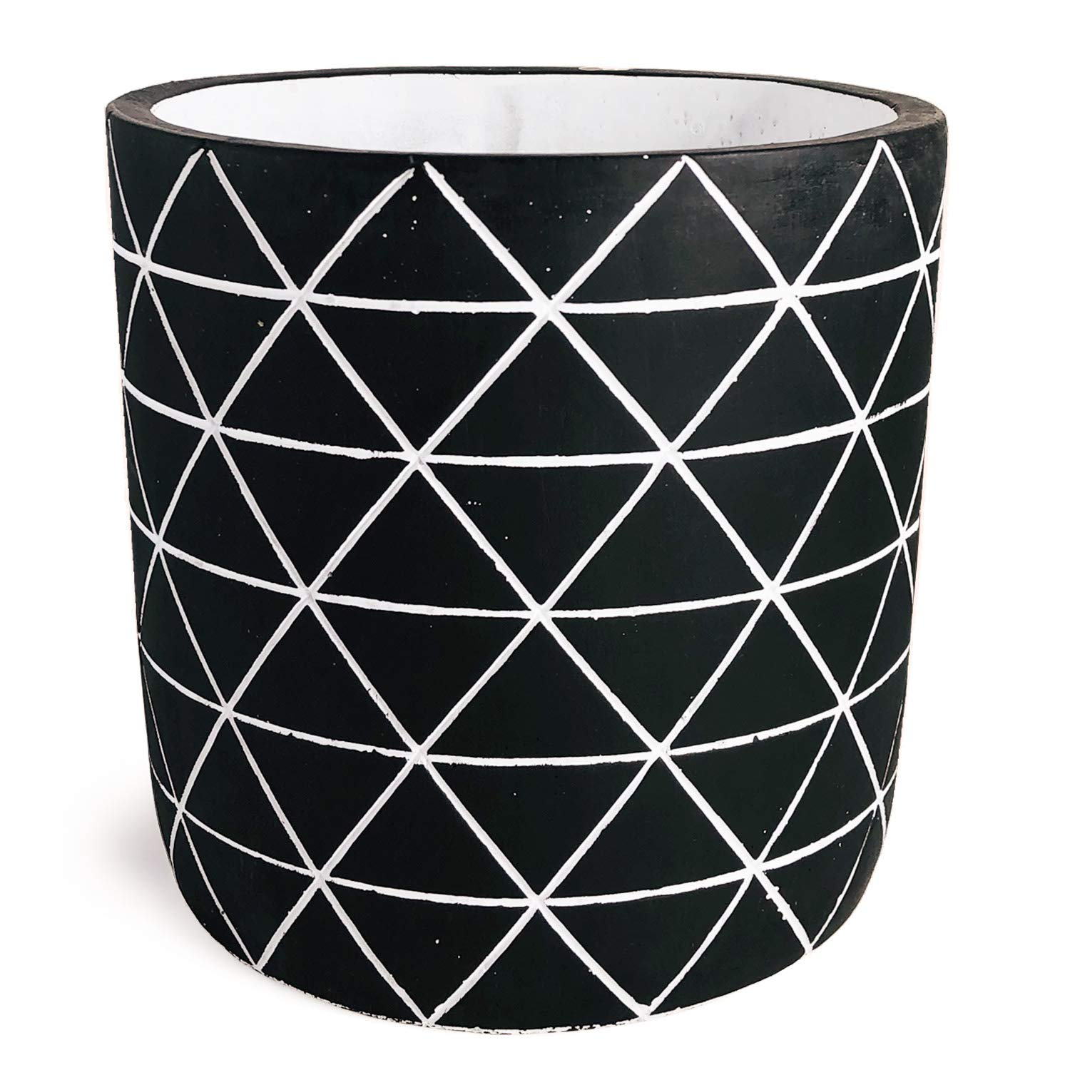 Flower Pot, Outdoor Indoor Concrete Planter 6 Inch, Cement Succulent Planter with Drainage Hole, Mid-Century Orchids Container Large Modern Planter Home Window Decor Black and White by Forward