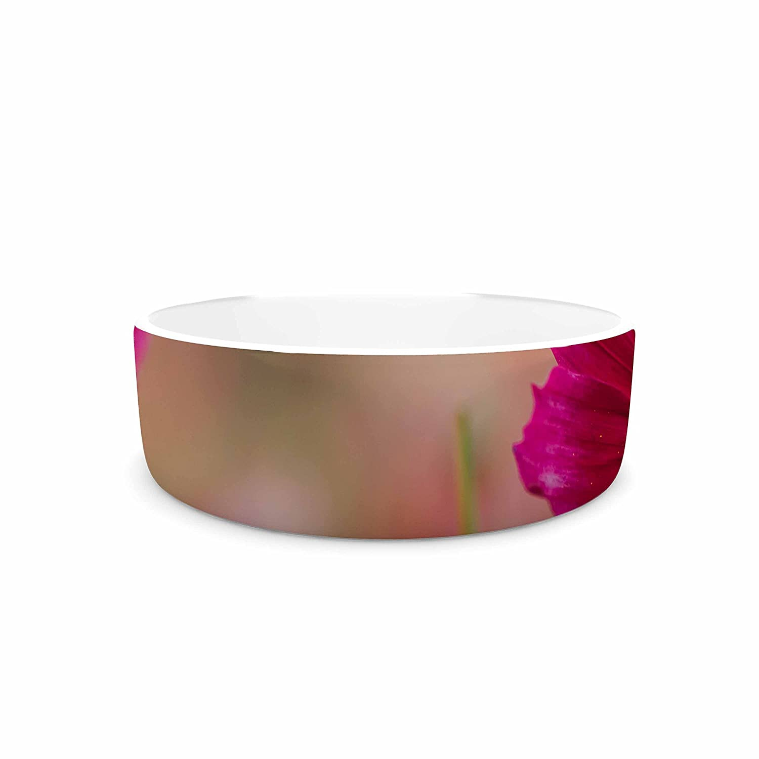 KESS InHouse Chelsea Victoria Wild for You Yellow Pink Floral Photography Pet Bowl, 7  Diameter