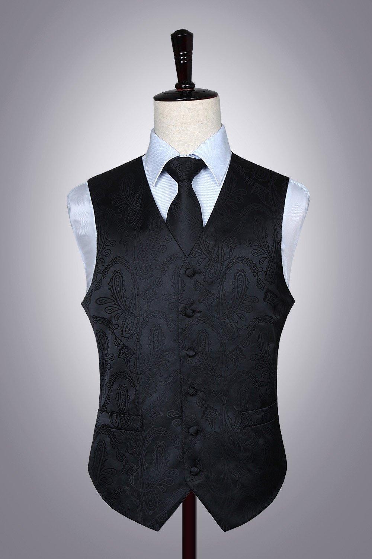e da Jacquard cravatta Floral Classico Gilet Hisdern uomo Paisley 5W18xn0T