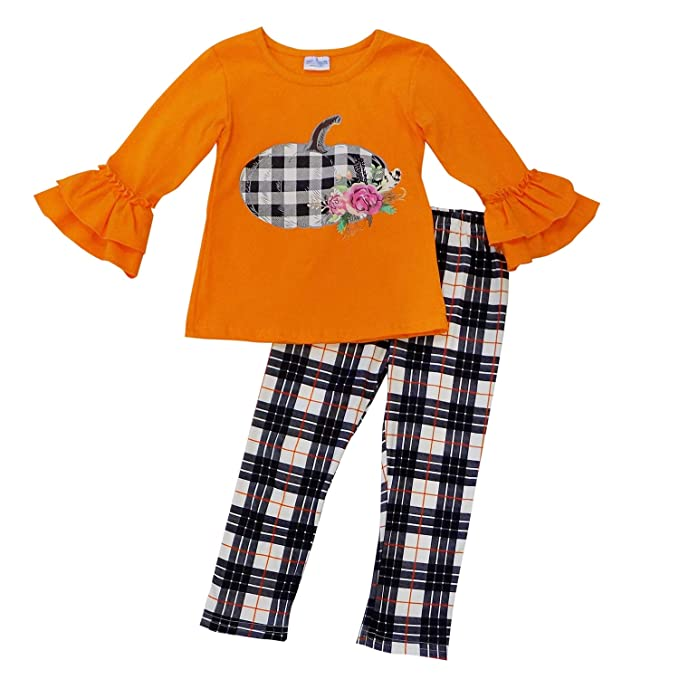 Girls Plaid Halloween Outfit Boutique Toddler Kids Clothes Top Leggings 2t 3t US