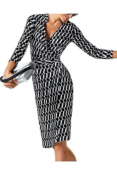 Yacun Lápiz Oficina Vestido Mujer Manga 3/4 DE Longitud De La Rodilla Vestidos De Partido: Amazon.es: Ropa y accesorios