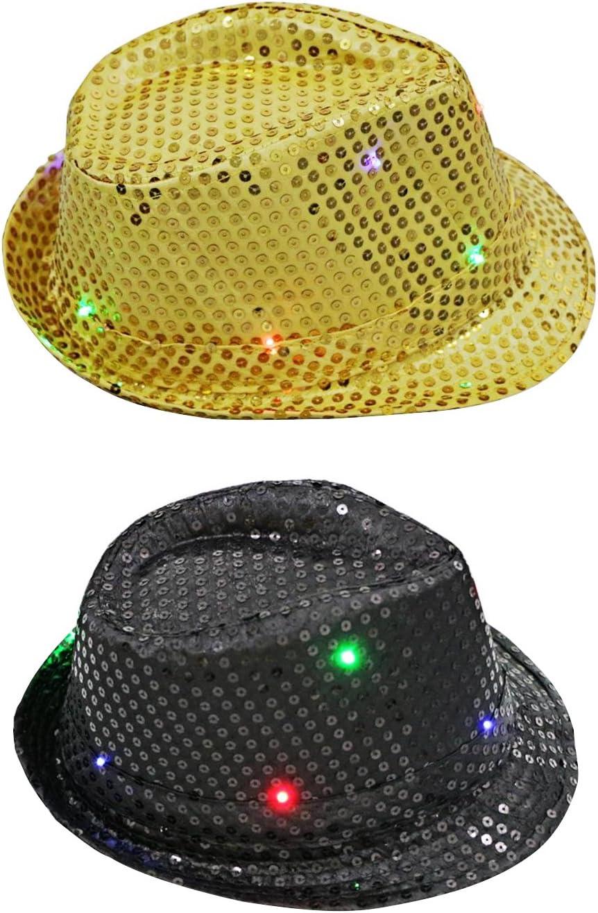 Hooyi LED Shiny Sequin Women Fedora Hat Derby Cap Party Men Children Jazz Hats