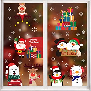 CCINEE 352PCS Christmas Window Clings Sticker Snowflakes Sata Claus Reindeer Snowman Xmas Decals for Chrismas Party Decoration Holiday Supplies