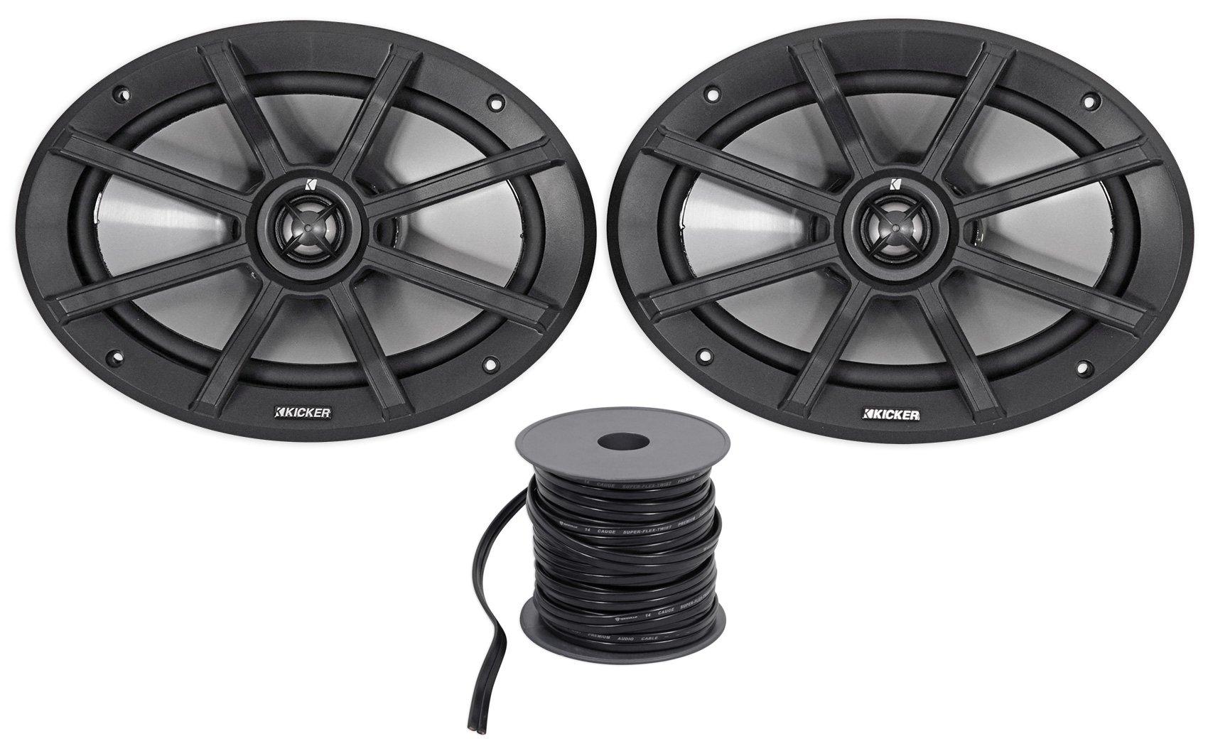 Package: Pair of Kicker 40PS692 6x9'' 2-Ohm ATV/Motorcycle Speakers Totaling 360 Watt Peak/180 Watt RMS + Rockville R14G50MS-BL 50 Foot Mini Spool Marine Waterproof 14 AWG Professional Speaker Wire