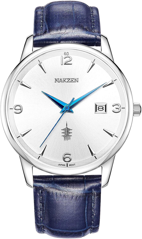 NAKZEN,Quartz Movement,Dress Watch Classic Analogue Mens Watches 30M Waterproof Date Calendar Wristwatches Men Leather Strap Stainless Case White