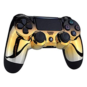 eXtremeRate Tri-Color Gradients Faceplate Cover, Chrome Black Gold Silver Front Housing Shell Case Replacement Kit for Playstation 4 PS4 Slim PS4 Pro Controller (CUH-ZCT2 JDM-040 JDM-050 JDM-055) (Color: Chrome Black Gold Silver)