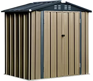 6' x 4' Outdoor Storage Shed, Steel Utility Tool Storage House with Double Door & Lock, for Backyard Garden Patio Lawn