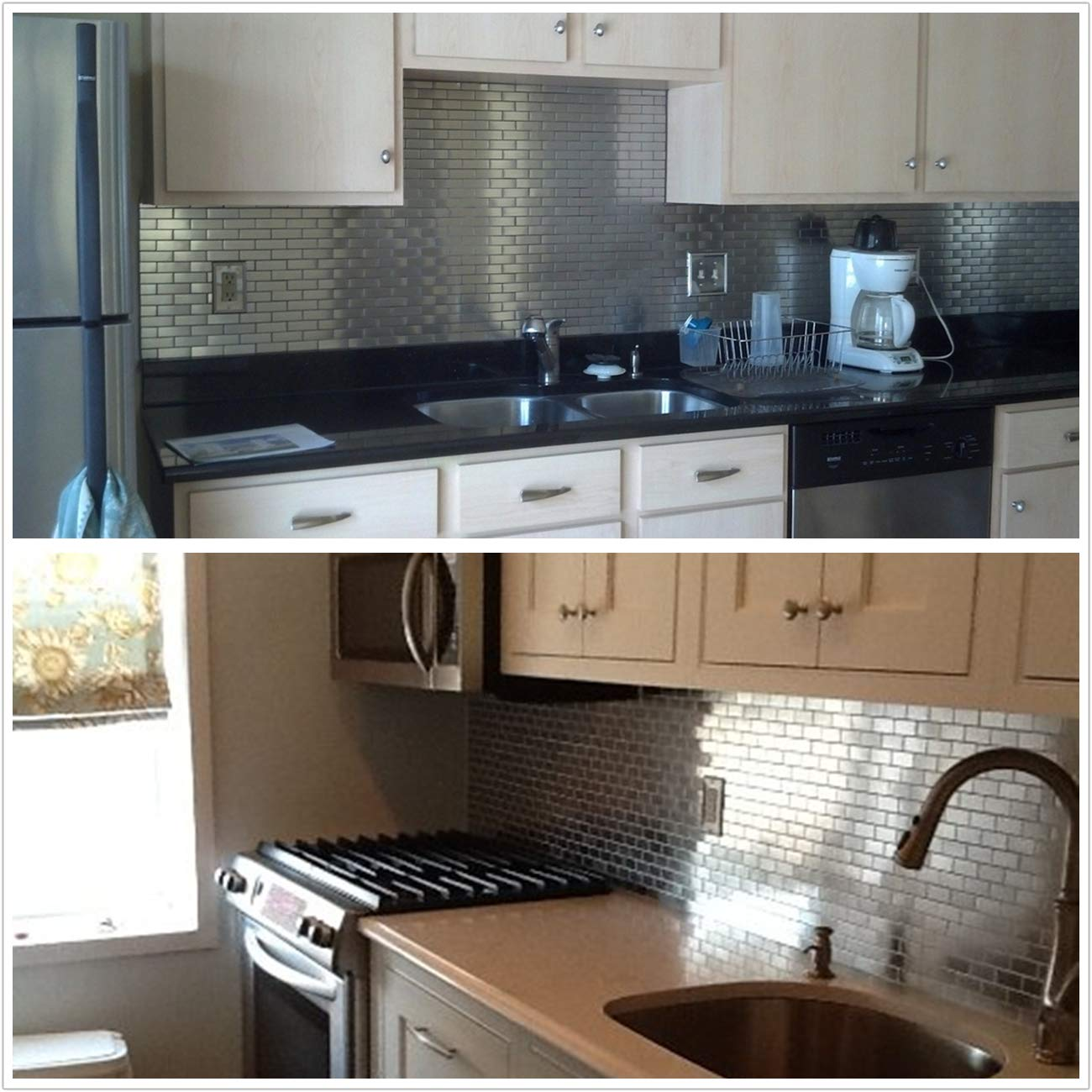 HomeyStyle Subway Stainless Steel Peel and Stick Tile Backsplash for Kitchen Bathroom Stove Self-Adhesive Metal Mosaic Tiles Wall Decor Sticker,5 Tiles x 12''x12'' by HomeyStyle (Image #6)