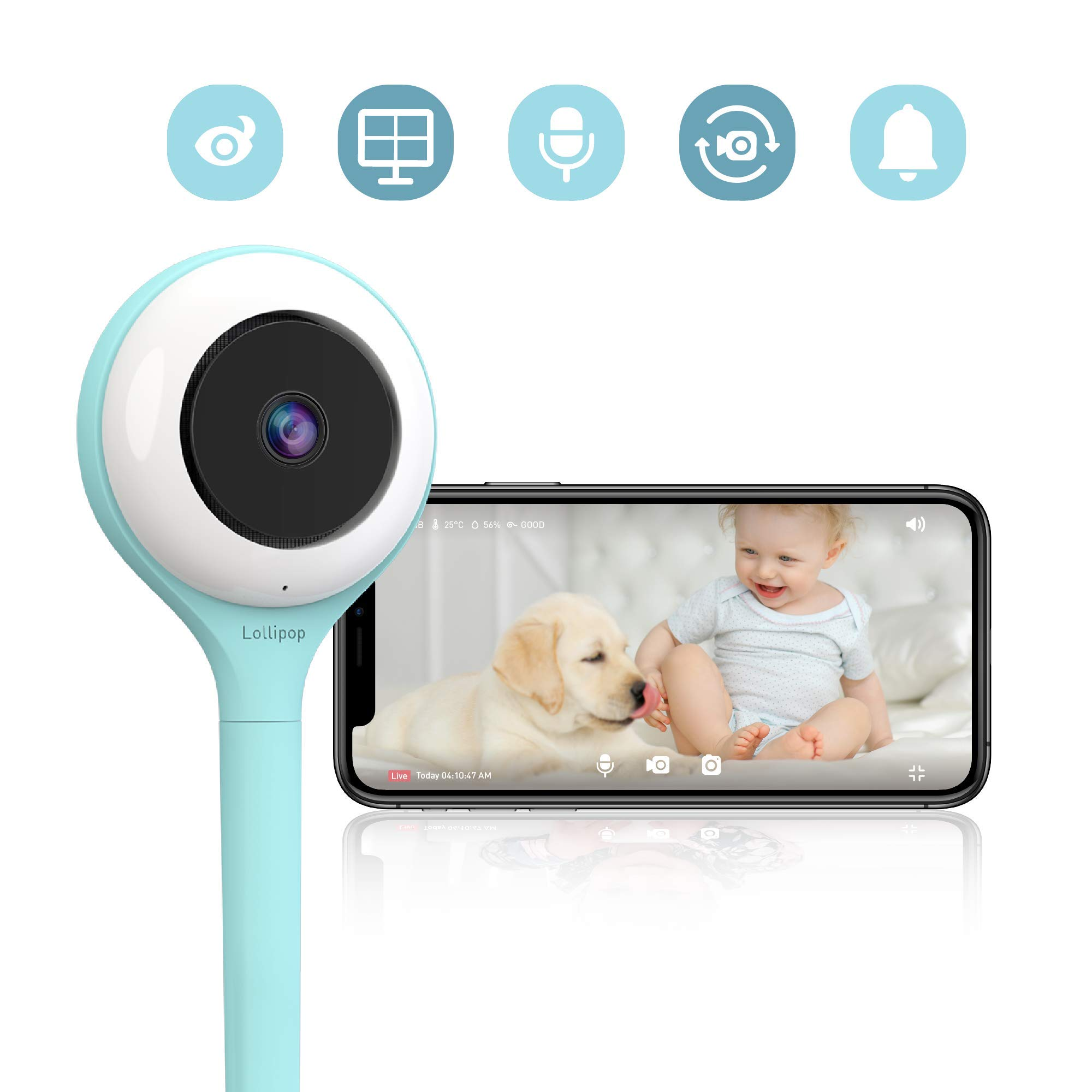 Lollipop HD WiFi Video Baby Monitor (Turquoise)- Supports 2 Cameras and Up, Night Vision, Noise & Crying Detection, 2-Way Talk Back, Wall Mount Included- Baby Boy Girl Shower Gift by Lollipop