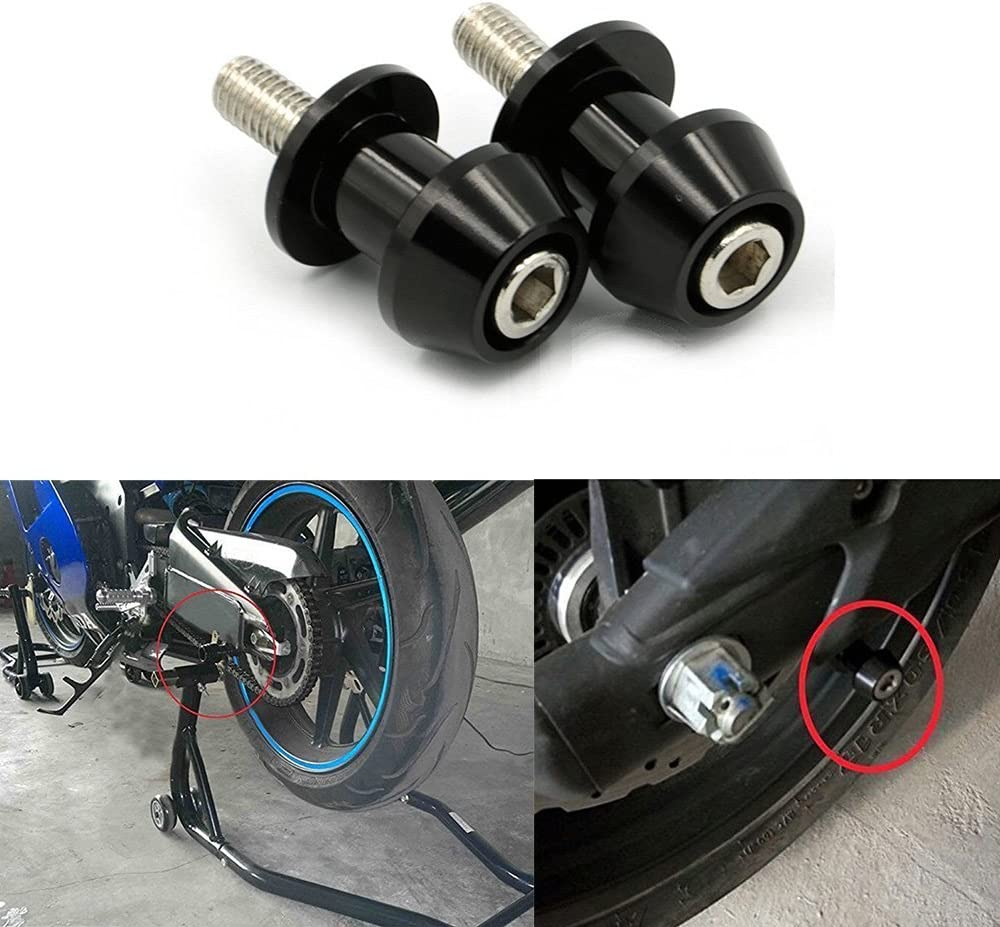 ViZe Motorcycle Spools Diabolos Sliders Stand Screws Support Screws Black, M8X1.5