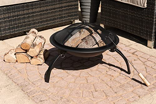 LIVIVO ® Round Folding Outdoor Patio Fire Pit for Garden Camping BBQ Picnics Holiday Festivals Heater Log with Mesh Screen and Wooden BBQ Tool