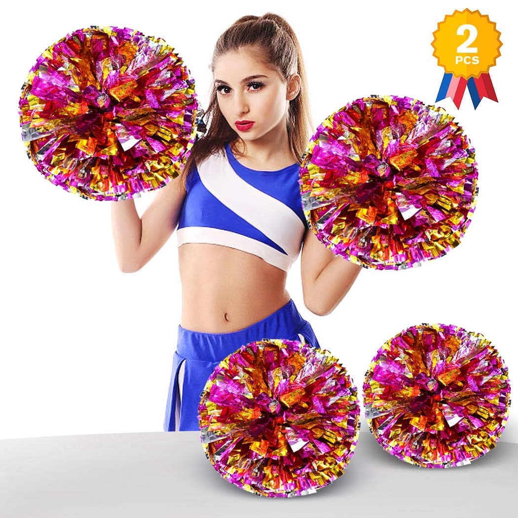 ANALAN 20 Colors Pack of 2 Foil Plastic Metallic Cheerleading Pom Poms for Cheer Sport Kids Adults