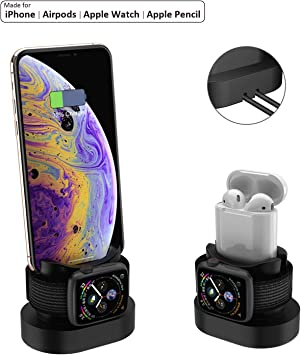 3 en 1 Cargador Charging Stand Dock Station Base Estación de Carga de Silicona Soporte iPhone X 88 Plus77 Plus6s AirPods Apple Watch Serie 4 3 2 1
