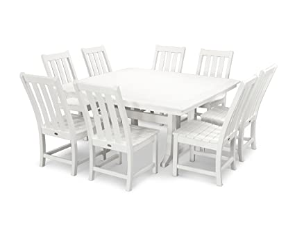 POLYWOOD Vineyard 9 Piece Dining Set (White)