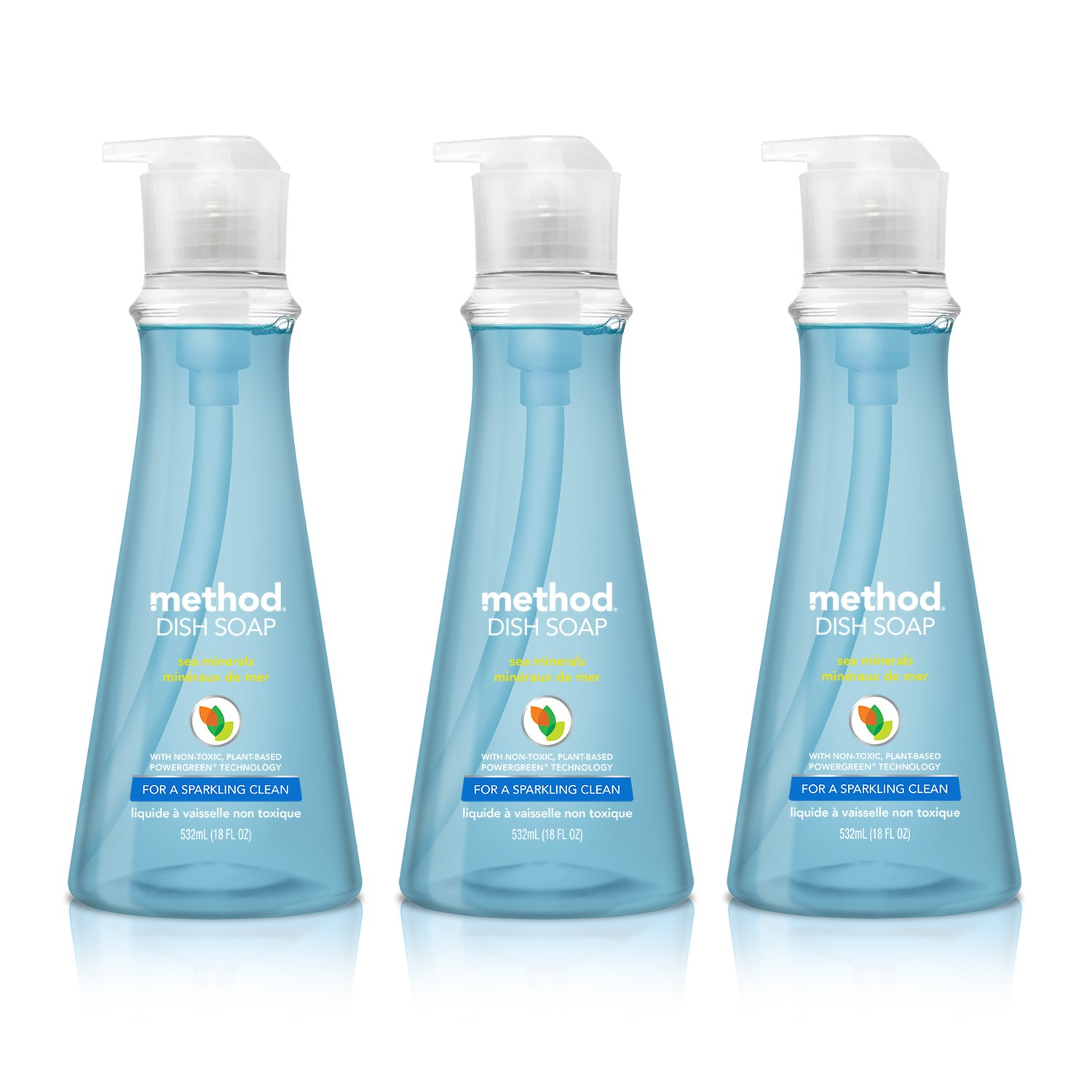 Method Naturally Derived Dish Soap Pump, Sea Minerals, 18 Ounce (3 Count)