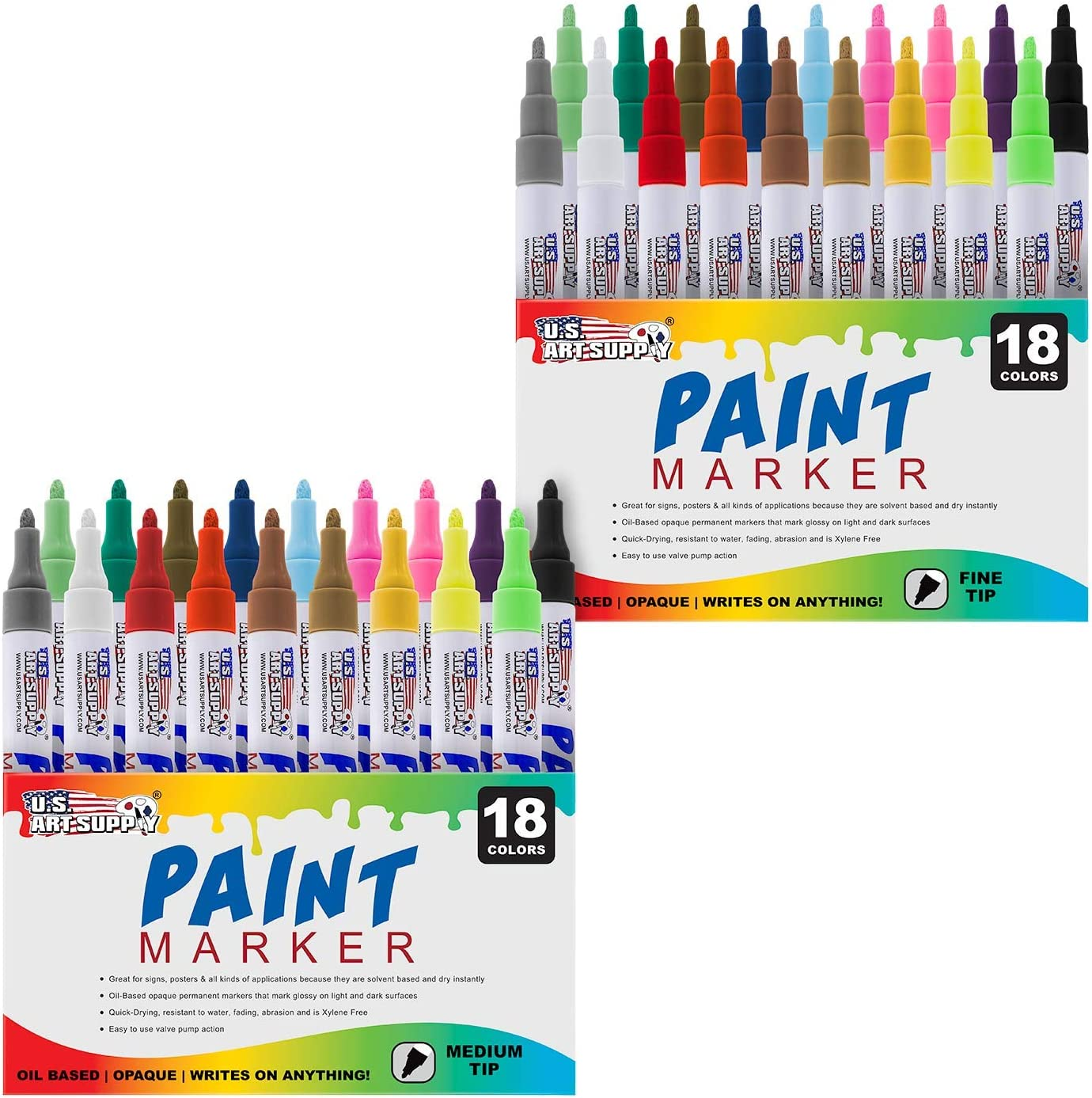 Art Supply 18 Color Set of Extra Fine Point Tip Oil Based Paint Pen Markers U.S