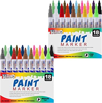 Permanent Ink 18 Color Set of Oil Based Paint Pen Markers Medium Point Tips