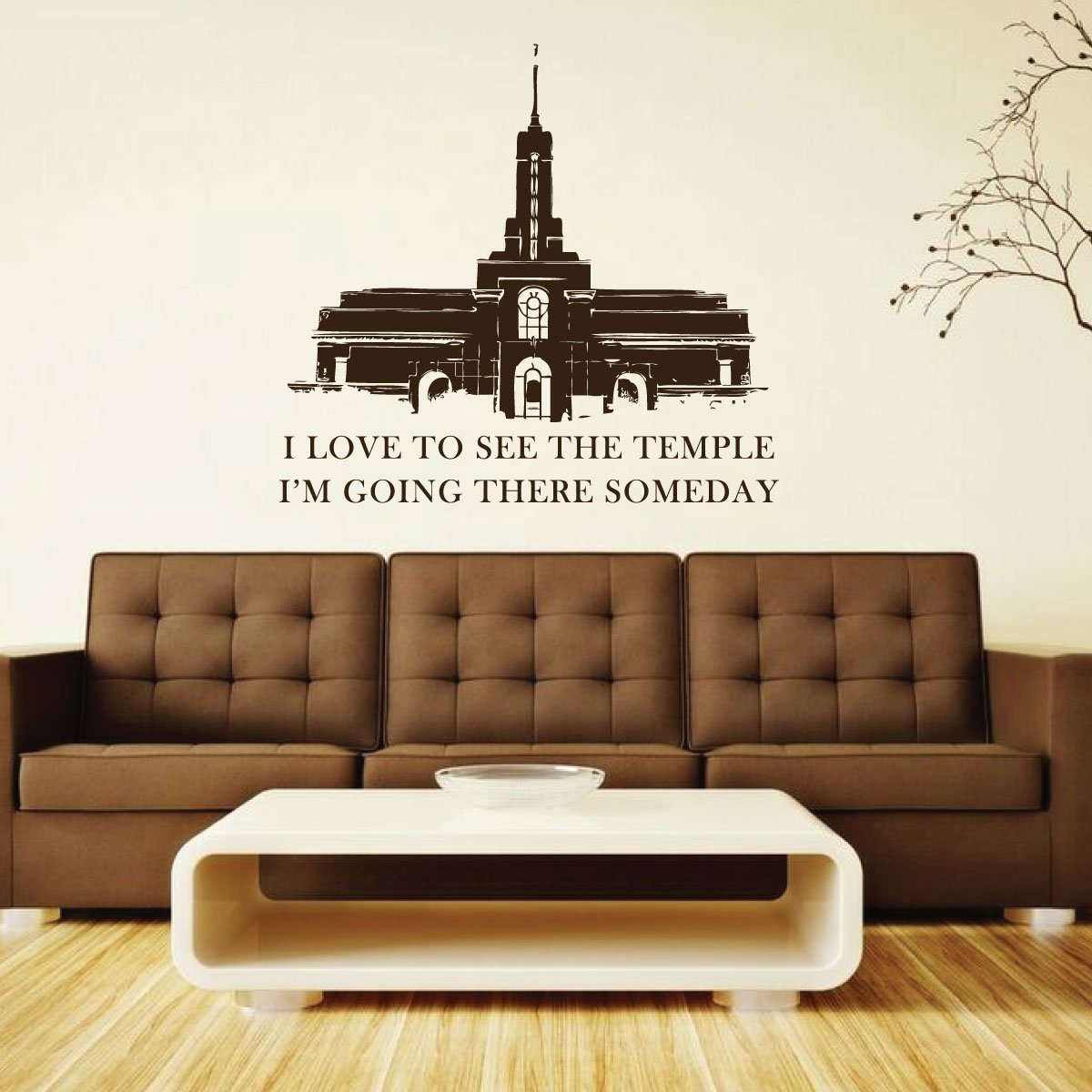 LDS Temple Decal - Mt Timpanogos Mormon Temple Vinyl Sticker Mural with Primary Song Quote - Latter-day Saint Home Decor for Living Room, Bedroom, Kitchen