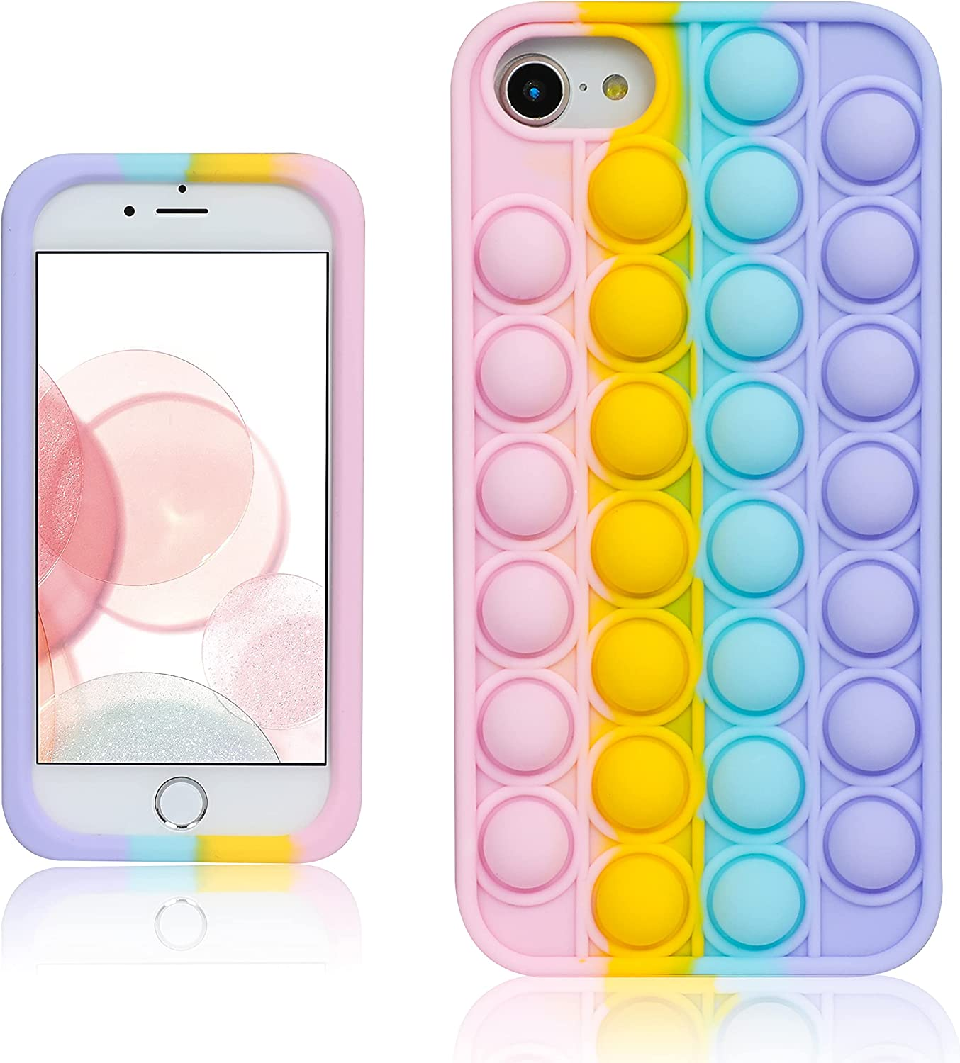 oqpa for iPhone 7/8/SE 2020/6/6S Case Cartoon Kawaii Funny Cute Fun Silicone Design Cover for Girls Kids Boys Teen, Fashion Cool Unique Fidget Color Bubble Cases (for iPhone 7/8/SE 2020/6/6S 4.7