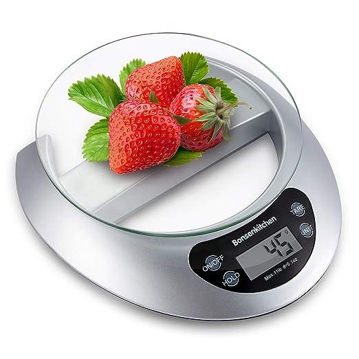 Bonsenkitchen Báscula Digital Balanza de Cocina Profesional, Escala de Peso de Alta Precisión con Vidrio Desmontable y Pantalla LCD - 5 kg / 11 lb, ...