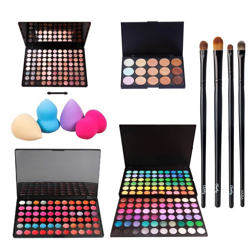 Incredible Deal And Quality Professional Make Up Artists Set With 2 Eyeshadows / Eyes Shadows Palettes With 208 Different Colours, Concealers Palette With 15 Blendable Tones / Shades, Lipsticks And Lips Glosses Palette With 66 Different Colours, 4 Various