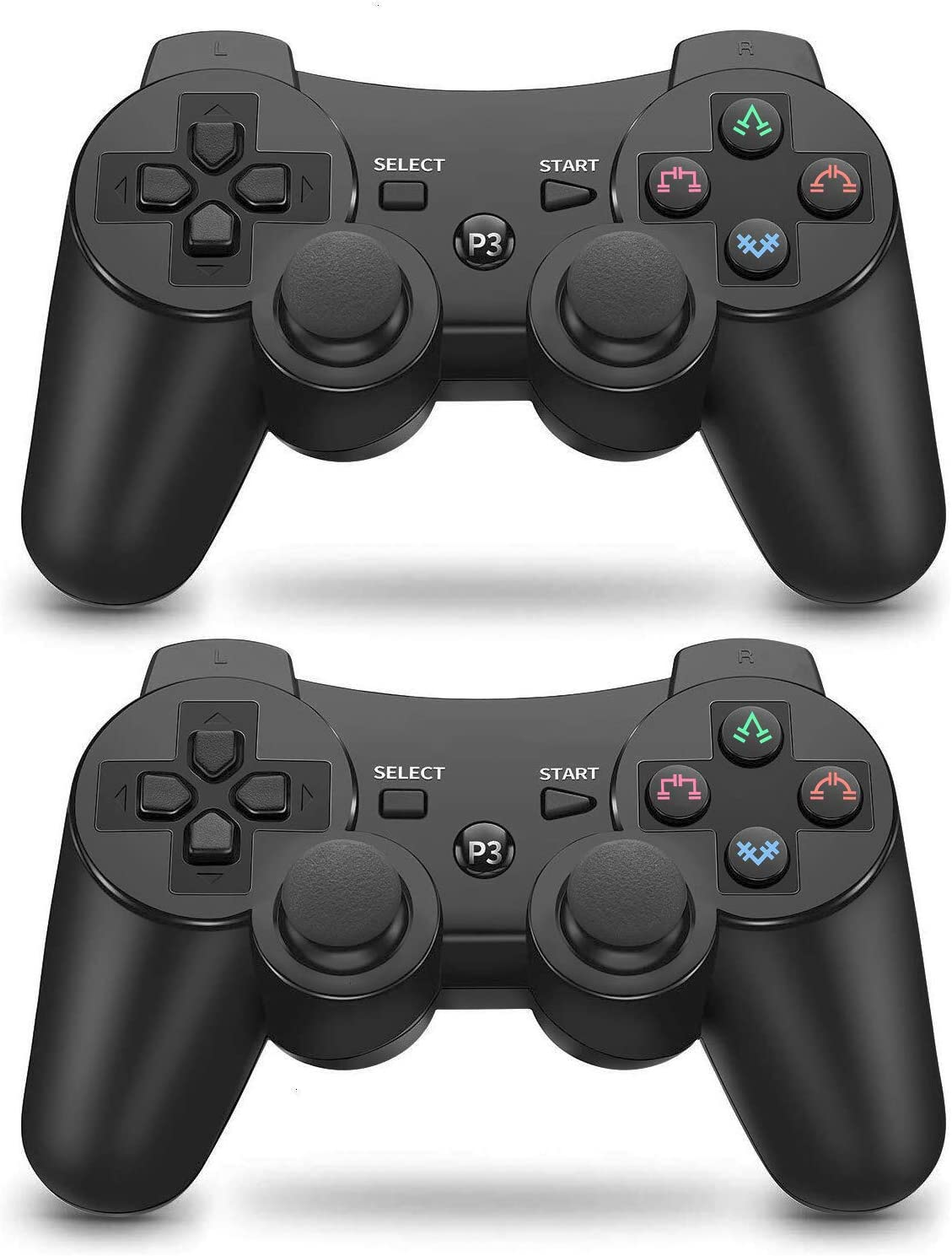 PS3 Controller 2 Pack Wireless 6-axis Dual Shock Upgraded Gaming Controller for Sony Playstation 3 with Charging Cord