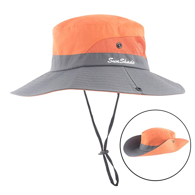 ee16ed9abcf Women Outdoor Sun Hat UV Protection Wide Brim Mesh Foldable Safari Beach  Fishing Bucket Cap Orange