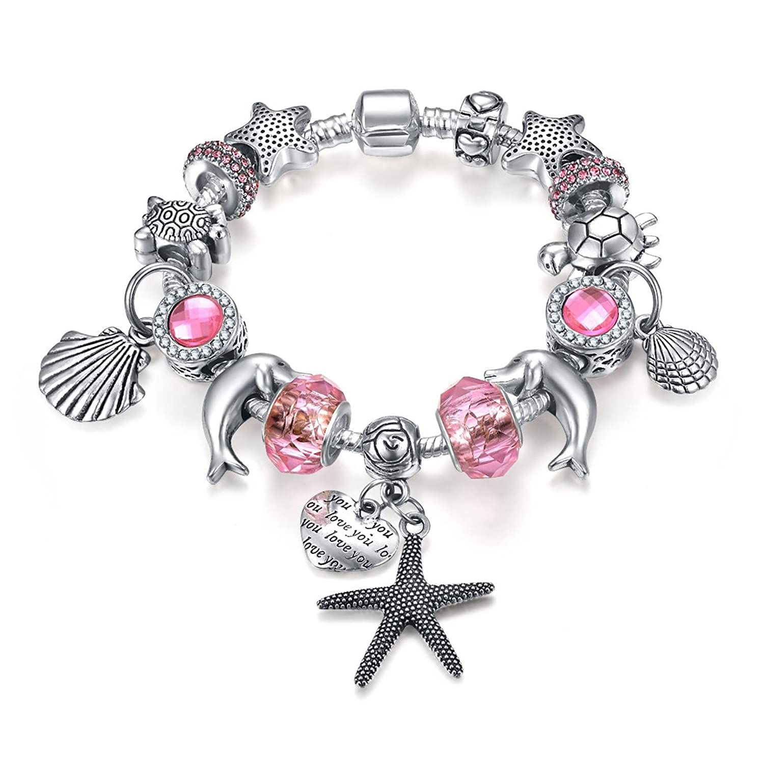 Amazon.com: Presentski Fashion Charm Bracelet for Teen Girls and ...