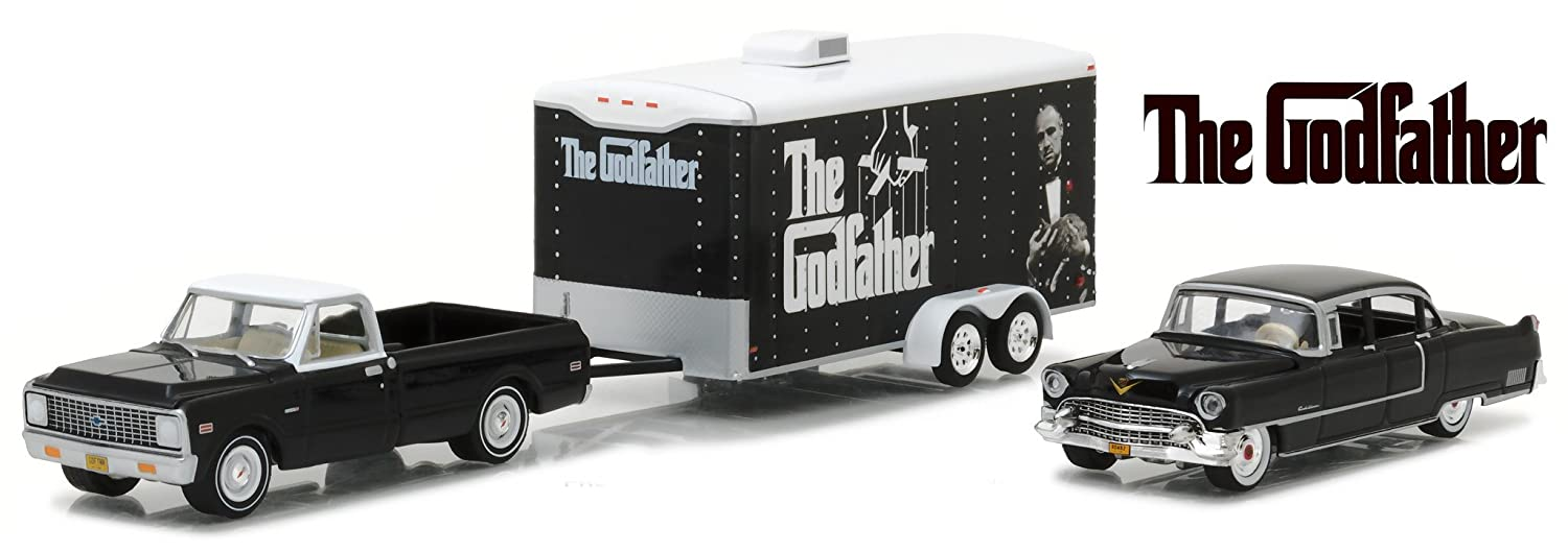 1 64 HOLLYWOOD HITCH TOW 3 THE GODFATHER 1972 CHEVROLET C 10 1955 CADILLAC FLEETWOOD SERIES 60 ENCLOSED CAR TRAILER 31030 B DIECAST BLACK GREENLIGHT