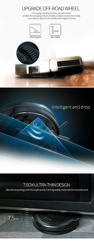 Robot aspirador inteligente con mando a distancia 0,4 l Depósito prolongada Potente Aspiradora Adecuado para agua Buzón para el pelo de animal Hard Floor y ...