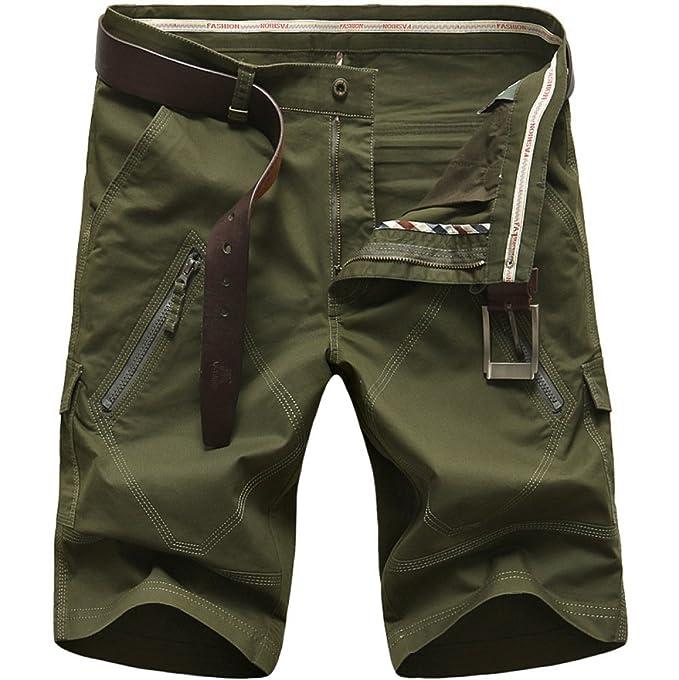 17d610f1bd Pantalones Cortos De Los Hombres Deportes De Verano Pantalones Cortos  Casuales De Playa Recta Varios Bolsillos