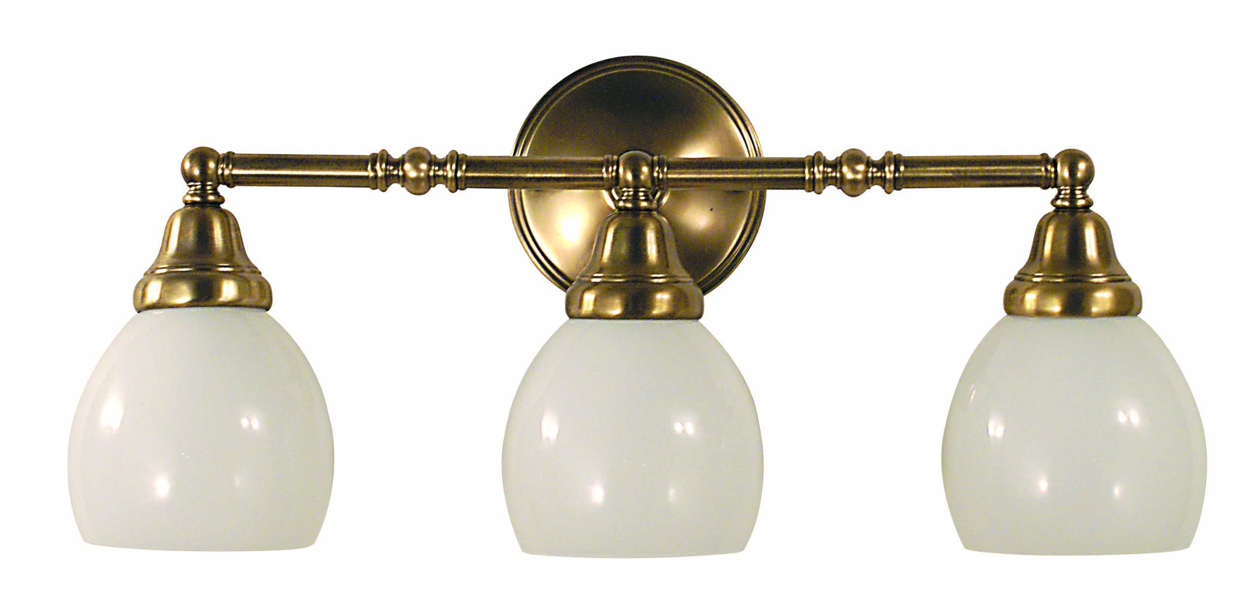 Framburg 2429 AB Sheraton 3-Light Vanity Fixture with White Opal Glass Shades, Antique Brass