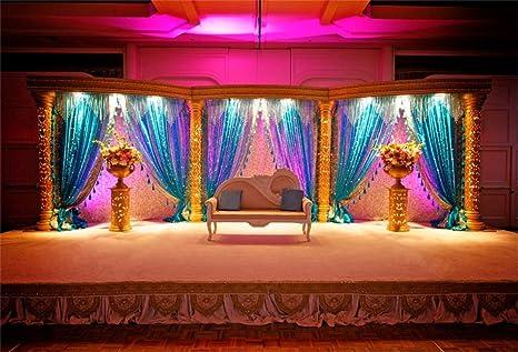 Leyiyi 10x8ft Vintage Indian Wedding Room Backdrop Luxury Marriage Mandap Background Stage Curtain Sofa Pillows Flowerpots Traditional India Custom