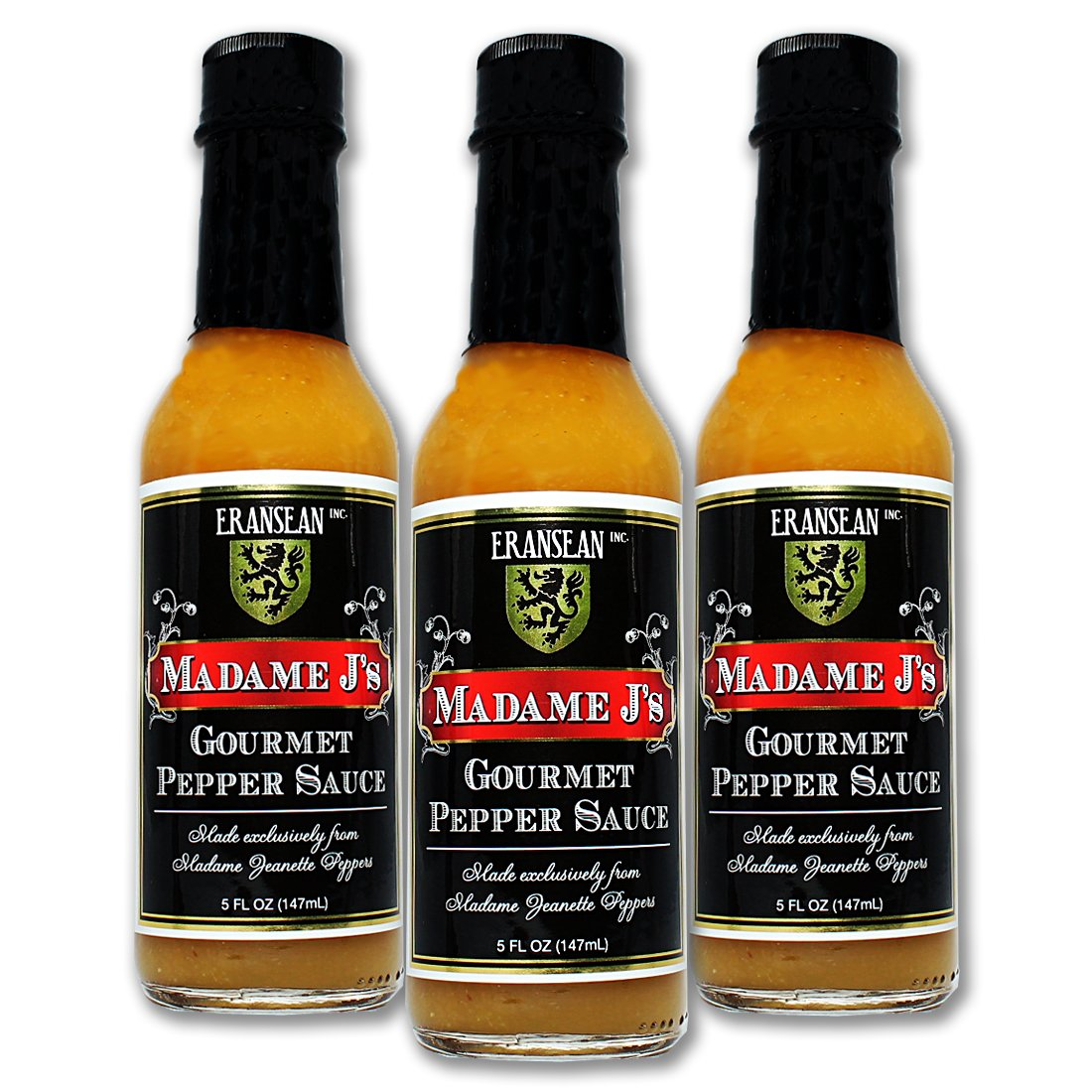 ERANSEAN Madame J's Gourmet Pepper Sauce – 3 pack/made from exclusively grown Madame Jeanette Peppers/natural unique flavor and heat/gluten free/shake bottle – 3-5 Fl. Oz. bottles