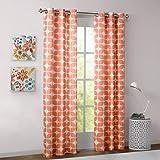 "Lita Geometric Grommet Top Window Curtain Pair Orange 63"" Panel"