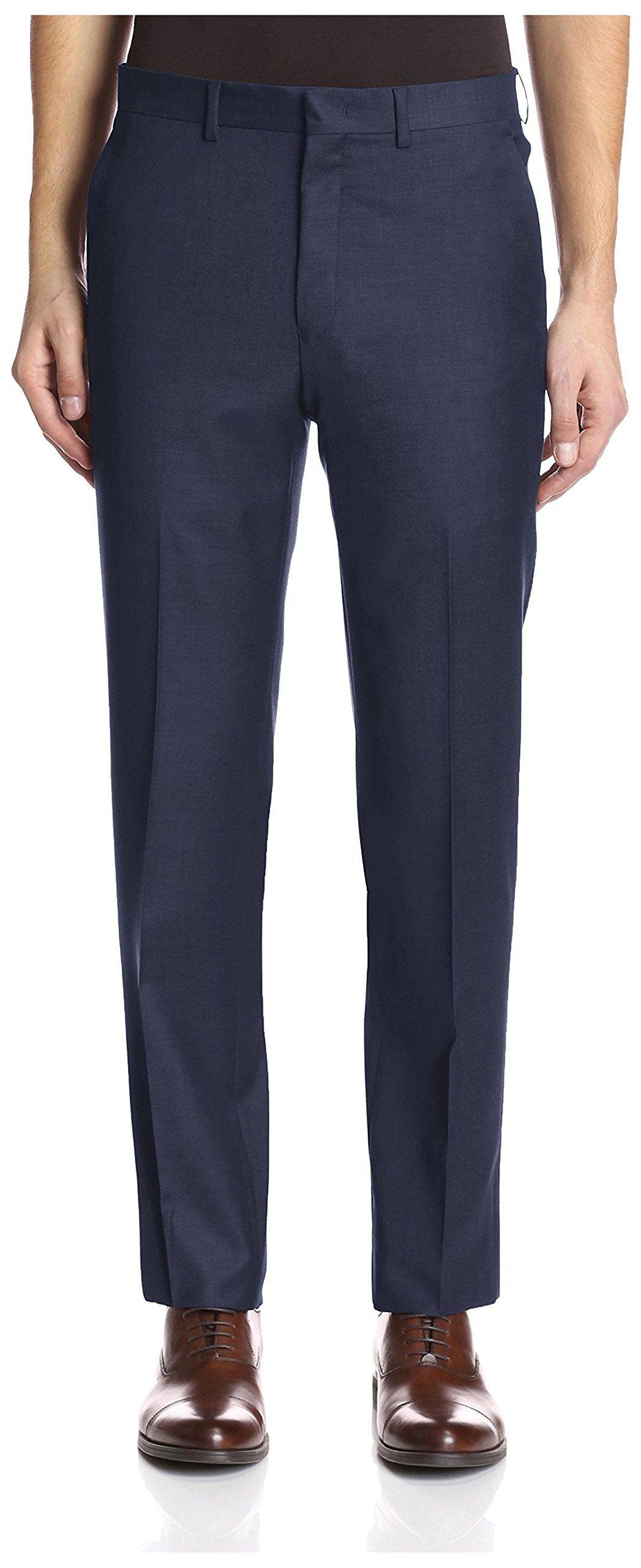 Franklin Tailored Men's Solid Trousers, Navy, 38 US