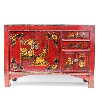 Asien Lifestyle Asiatische Kommode Sideboard Rubin Rot Aus China