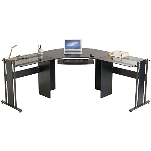 Large Corner Computer Desk Office Table with Glass Wings for Home Gamers Students Work Graphite Black Piranha Furniture PC 42g