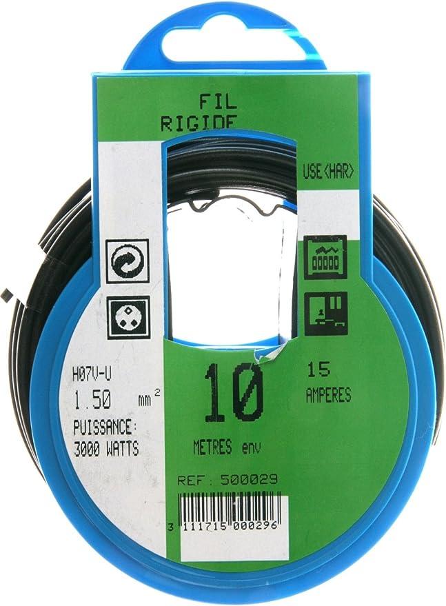 Fil dalimentation /électrique HO7V-U 1,5mm/² Bleu 10m