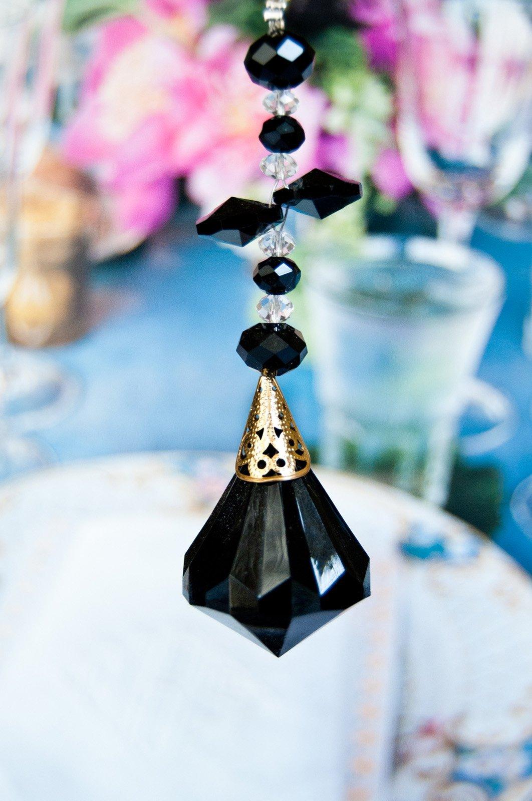 2 of Crystal Diamond Ceiling Lighting Fan Pulls Chain - Black