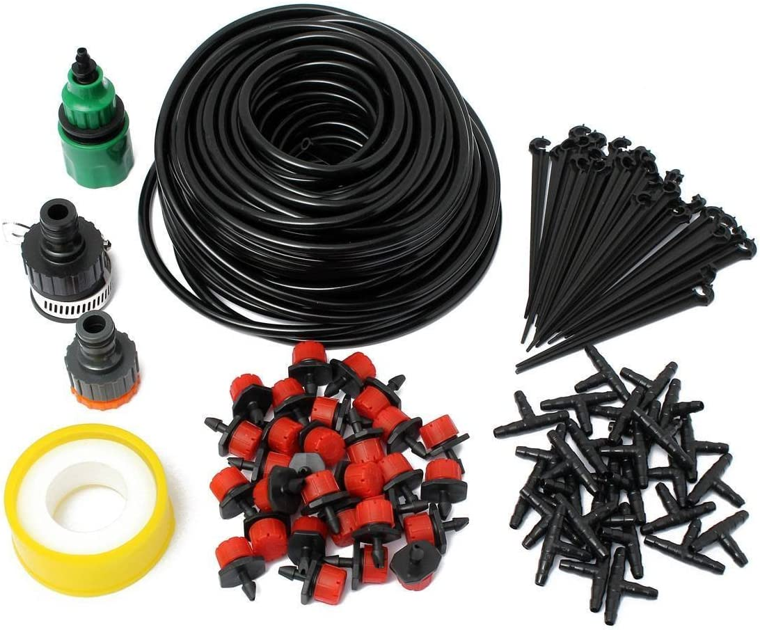 STAR SSTO 25M Micro Flow Drip Watering Irrigation Kits Système Self Plant Kits d'arrosage de tuyaux de Jardin 30 Drippper Automatic Garden Plant Système d'eau de Serre