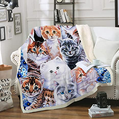 Cat Blanket Sherpa Throw Blanket Fuzzy Blanket Cat Design Boys Girls Kitten Collage Super Soft Fleece Blanket Cute Cat Blankets For Cat Lovers Fuzzy Bed Couch Blanket With Cats Cats Throw 50 X60