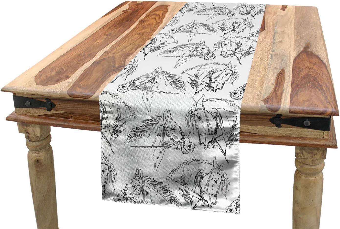 ABAKUHAUS Caballos Camino de Mesa, Yegua Árabe del Bosquejo, Decorativo para el Comedor o Sala de Estar Estampa Digital, 40 x 180 cm, Blanco Negro