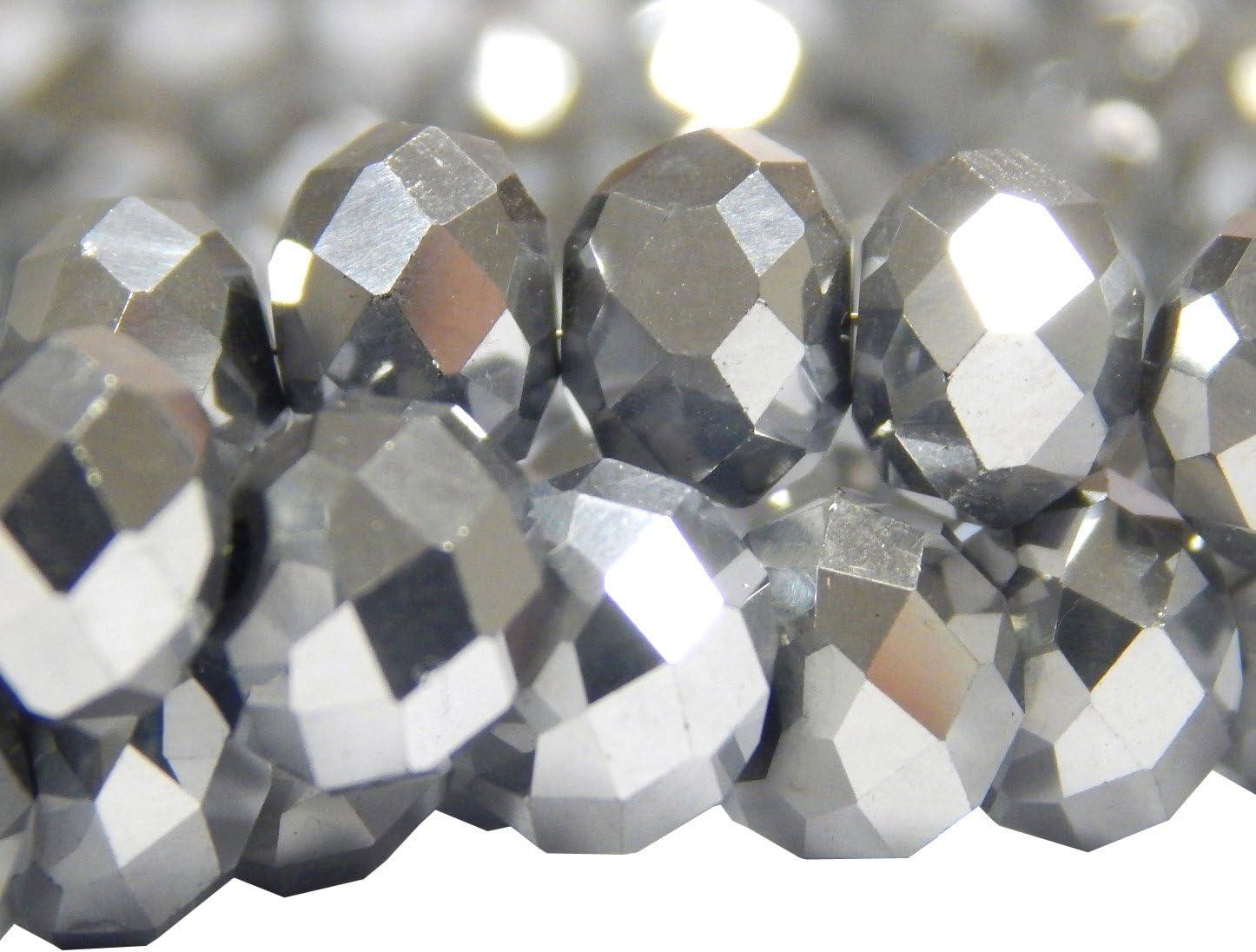 Rondell X246 Lot de 15 Perles en Verre Poli avec Perles de Verre 10 mm x 8 mm Argent/é