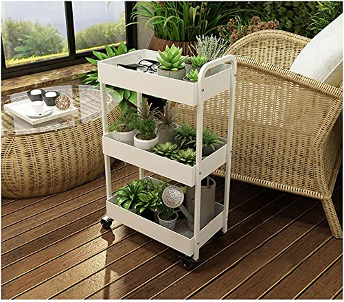 Yontree 3-Tiers Kitchen Baker s Rack Utility Storage Trolley Rolling Cart Laundry Cart Flowerpot Shelf Gap Storage Rack Moveable Bookcase for Kids White 17.7x11x33 Inches