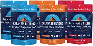 product image for Kalahari Biltong Variety Pack | Air-Dried Thinly Sliced Beef | Original, Spicy Peri Peri, Garlic | 2oz (Pack Of 6) | Sugar Free | Better Than Jerky