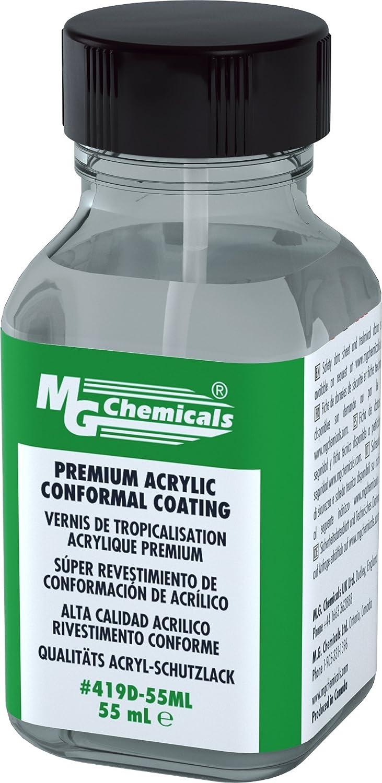 MG Chemicals Premium Acrylic Conformal Coating, 55 mL Bottle with Brush Cap, IPC 830, UL 94V-0 (File # E203094) 419D-55ML