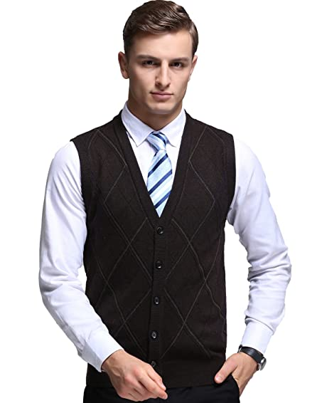 Kinlonsair Mens Button Cardigan Plain Sleeveless Sweater Vest Slim ...