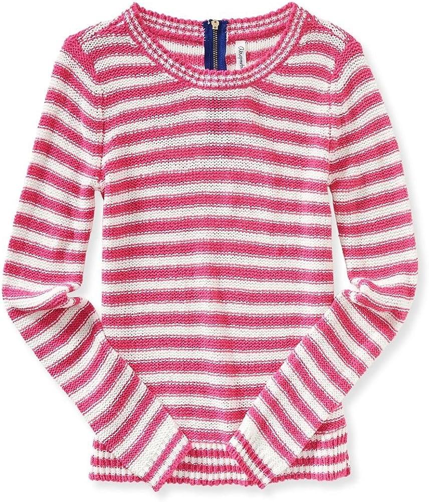 Aeropostale Womens Striped Zip Back Knit Sweater